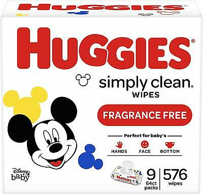HUGGIES Simply Clean Fragrance-free Baby Wipes, Soft Pack (9-Pack, 576 Sheets