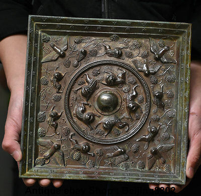 "10"" Antique Chinese Dynasty Bronze Palace Animal Beast Bird Han Copper Mirror"