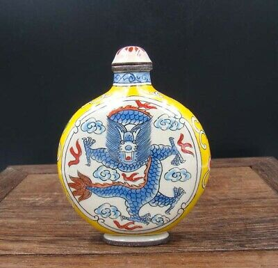 Collectible 100% Handmade Painting Copper Cloisonne Snuff Bottles QianLong NO-24