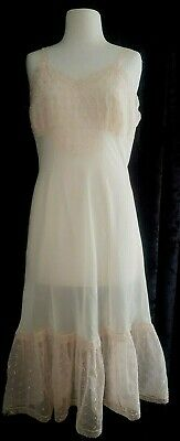 50's vintage Pink Negligee nightgown bridal lingerie Sheer lace slip Dress 36