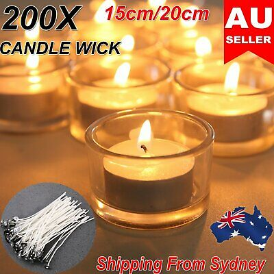 200x Candle Wick Pre Waxed With Sustainers Cotton Core DIY Candle Making Tool AU