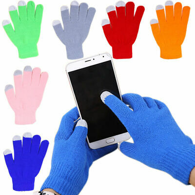 Winter Men Women Knit Smart Phone Touch Screen Full Finger Mittens Warm Gloves