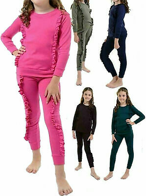 Children 2 PC Duel Frill Full Sleeve Plain Tracksuit Girls Loungewear Jogger Set