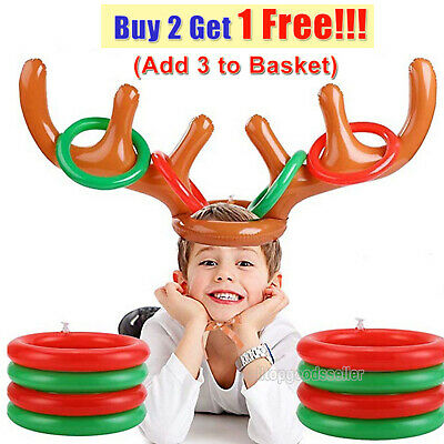 Inflatable Reindeer Antler Hat Ring Toss Game Christmas Home Office/Party Favors