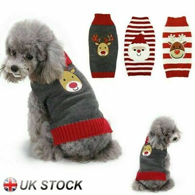 Christmas Pet Puppy Dog Cat Winter Thermal Jumpers Costume Santa Claus Sweaters