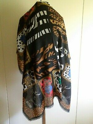 MOSCHINO Be Kind To Animals leopard patchwork print Scarf / Shawl vintage 1990s