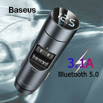 Baseus LCD Wireless Bluetooth MP3 FM Transmitter Radio Dual USB Car Charger Kit