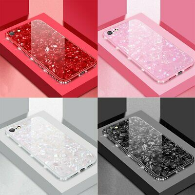 Luxury Bling Diamond Marble Tempered Glass Case Cover For iPhone 11 Pro 7 8 XR X