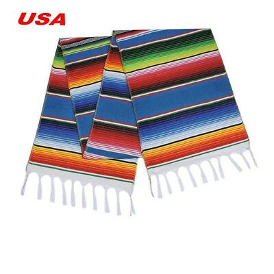 USA Stock Sell Mexican Serape Table Runner Fringe Cotton Tablecloth Party Decor