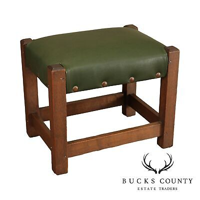 Antique Mission Oak Foot Stool with Green Leather