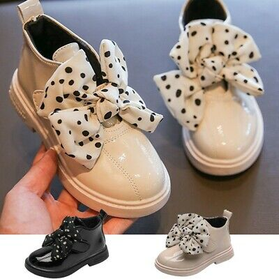 Toddler Kids Girls Fashion Martin Shoes Winter Warm Lace-Up Bowknot Ankle Boots