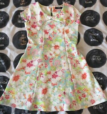 Girls Age 9-10 Party Dress Bright Floral Pink Green Blue