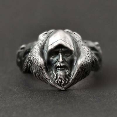 925 Antique Silver Men's Rings Retro Unique Old Man Face Jewelry Ring Size 6-11