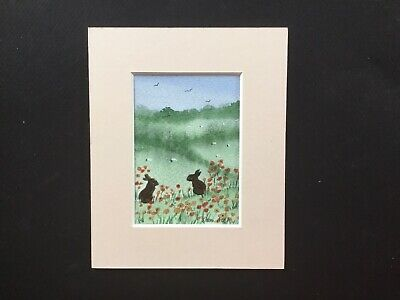 original watercolour Painting Aceo By ToniArthurs Bunnies  In The Poppies
