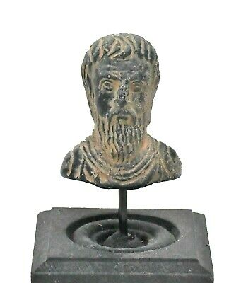 Ancient Roman Bronze Bust of Bearde Man