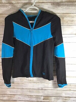 Justice Girls Size 10 Black Turquoise Blue Full zip Hood Lightweight Cotton