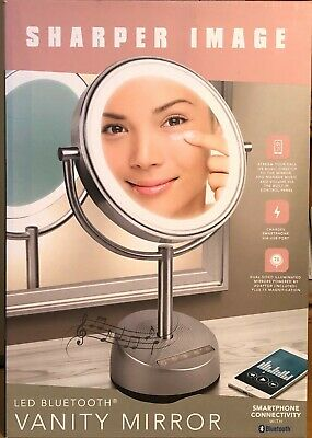 Vanity Mirror Silver Sharper Image LED Bluetooth Smartphone Connectivity New