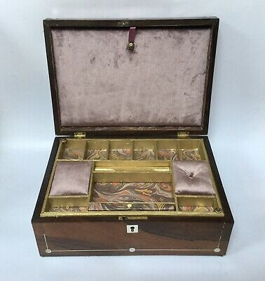 Antique Wooden Sewing Box Victorian Sewing Box Re-lined