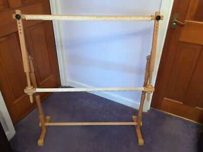 "Large Pine Tapestry or Embroidery Frame Free Standing and Adjusts. 42"" h x 35"" w"