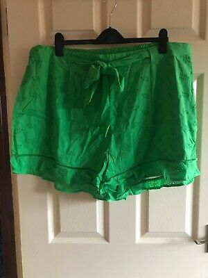 Ladies Cotton Green Broderie anglaise Shorts By George Size 22 BNWT