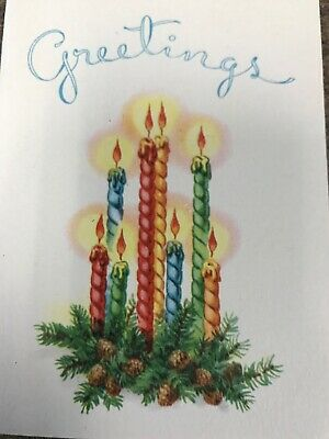 Vintage Christmas Card Art Deco Pine Cone Taper Candles Red Halo Flame Blue