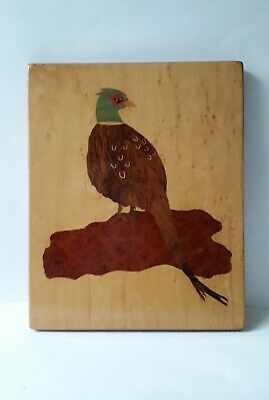 Vintage Wood Marquetry Picture of a Pheasant 27cm by 22cm