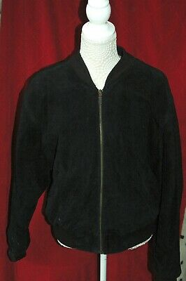 Ladies Black soft suede leather bomber jacket -10