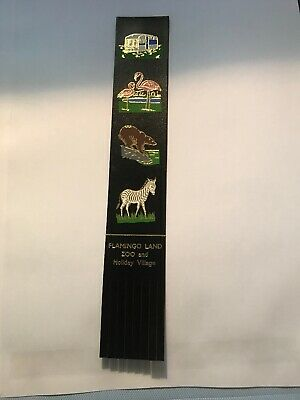 Leather bookmark. Flamingo Land Zoo And Holiday Village. Four images.
