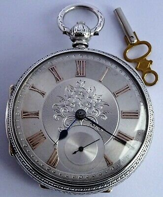 Edwardian large solid silver fusee pocket watch silvered dial,1906. Works. 147g