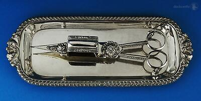 Beautiful GEORGE III OLD SHEFFIELD PLATE SNUFFER TRAY & WICK TRIMMERS c1800