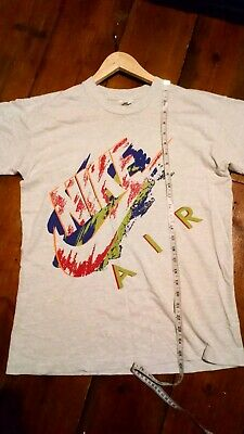 VINTAGE 90s NIKE AIR SPELLOUT NEON RAVER LIGHT MARL GREY T SHIRT MENS SMALL