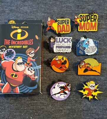 Disney Parks The Incredibles Blind Box Complete 8 Pin Set Dash Edna Frozone++