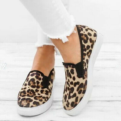 Women Leopard Printed Flat Shoes Round Casual Slip-on Shoes Comfy,