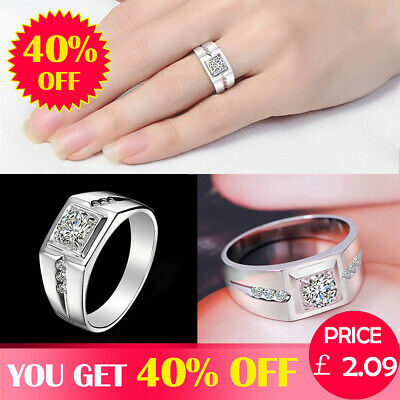 Men 925 Sterling Silver Wedding Ring Set Engagement Zircon Ring Couple Size 6-11