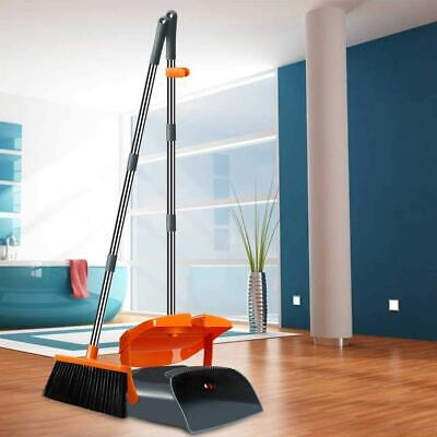 Chouqing Broom and Dustpan Set with Lid, Long Handle Stainless Steel Orange Gray