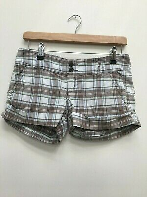 """Girls Or Ladies Abercrombie & Fitch Khaki Checked Shorts Size 00 Waist 30"""""""