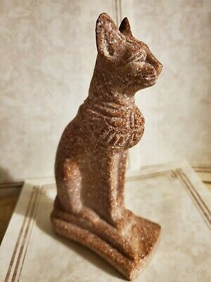 """Egyptian Stone or Soap Stone Ancient Cat BASTET Figurine 7"""" tall"""