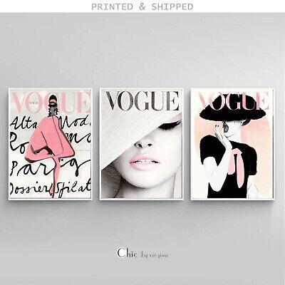 VOGUE Posters - 3 Prints Set - Fashion Wall Art - 1 FREE Print Included !