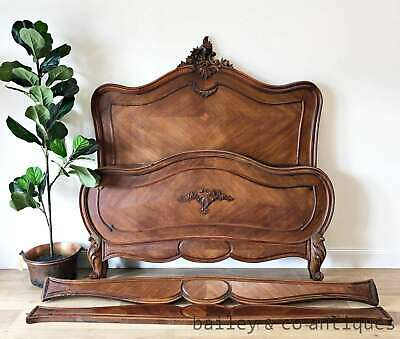 Antique French Bed Louis XV Style Rocaille Walnut - TA018