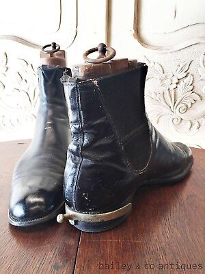 French Vintage Pair Boots & Spurs & Embauchoirs Rare - OF583