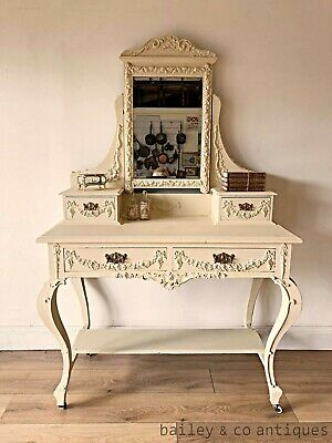Antique French Louis Style Dressing Table Swags Bevelled Mirror - P25  --