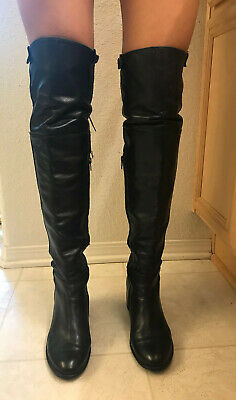 Bruni Black Leather Over The Knee Boots Women's Sz 38