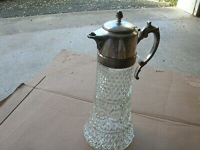 Vintage Silver Plated & Glass Claret Jug/Decanter