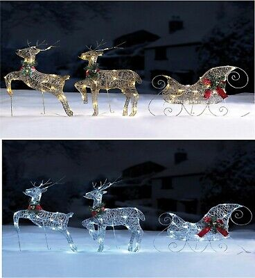 Reindeer and Sleigh Set Outdoor LED Lights Christmas Decoration Silver or Gold