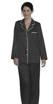 Womens Silk Satin Pajamas - PJ Set Top and Bottom Black White Pipping
