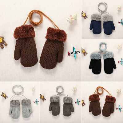Toddler Baby Girl Boy Children Outdoor Winter Patchwork Keep Warm Mittens Gloves