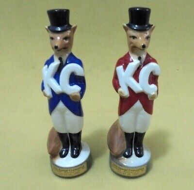 Pair Jim Beam Fox Figuirnes Made In Usa 1989 Limited Issue