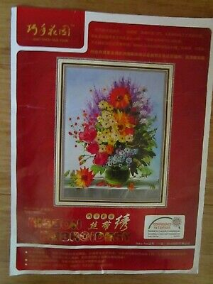 Ribbon Embroidery Kit Of A Vase Of Flowers From China.