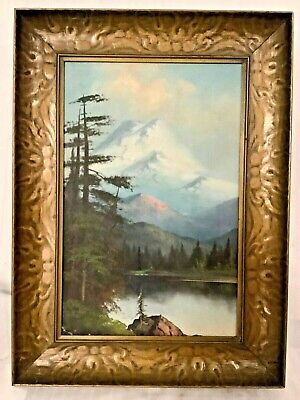 Antique c.1900 Oil on Canvas Forest Landscape Mountain Painting Signed Whitney
