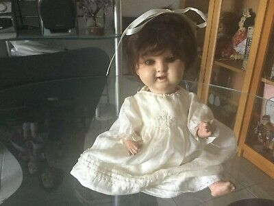 Antique /Vintage German Baby Painted Bisque Head  doll 12 inch ca 1930 s